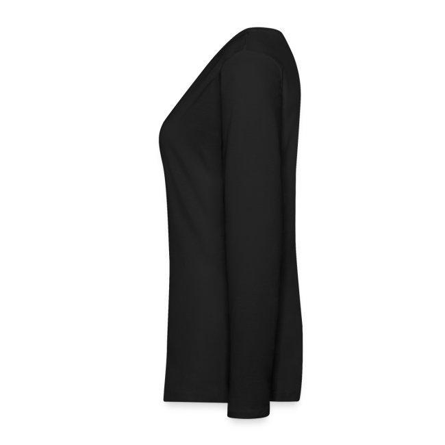 damen-langarm-shirt schwarz mit rotem flock-druck