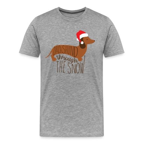 Dackel im Schnee - Männer Premium T-Shirt