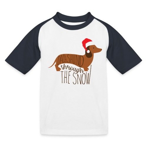 Dackel im Schnee - Kinder Baseball T-Shirt