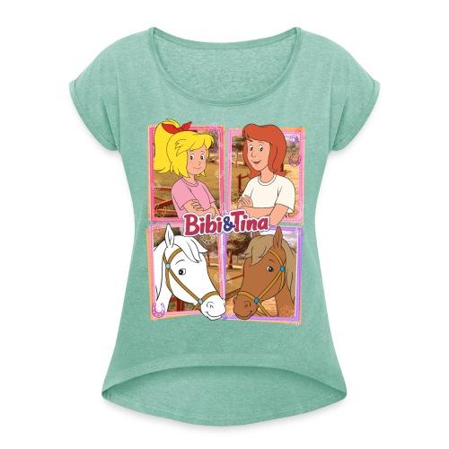 Bibi und Tina mit Amadeus und Sabrina - Frauen T-Shirt mit gerollten Ärmeln