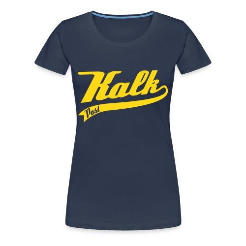 Damen Shirt mit Classic Motiv mit samtigem gelbem Flockdruck - Frauen Premium T-Shirt