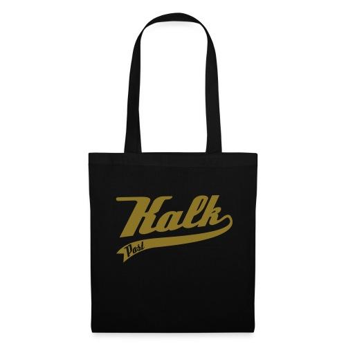 Schwarze Tasche mit goldener Kalk Post Classic in Flexdruck - Stoffbeutel
