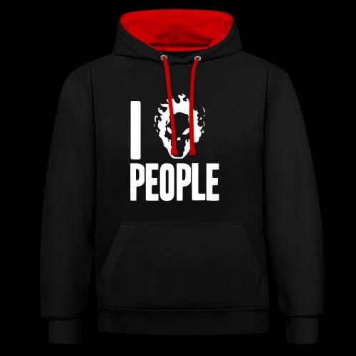 Ich hasse Menschen - Kontrast-Hoodie