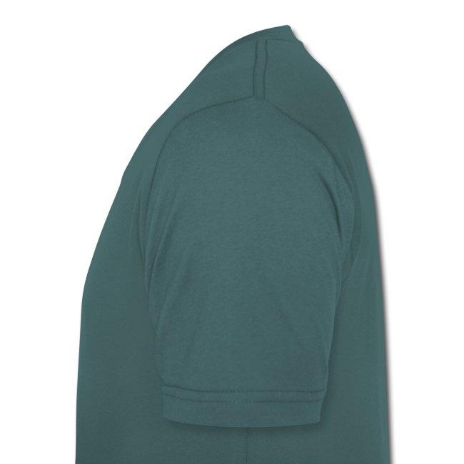 Ozeangrünes Shirt mit Flexdruck braun Kalk Post Balken