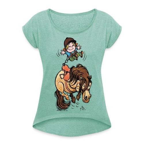 Thelwell Rodeo - Frauen T-Shirt mit gerollten Ärmeln