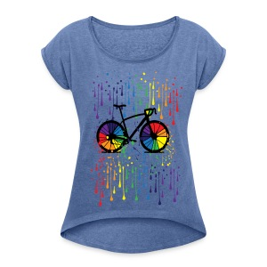 Rainbow bicycle t-shirt - Women's T-shirt with rolled up sleeves