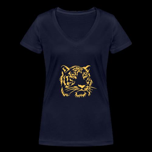 Tee-shirt bio F col en V - Tigre - T-shirt bio col V Stanley & Stella Femme