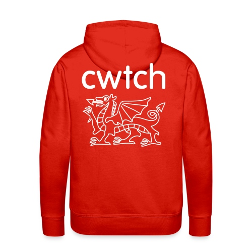 Mens hoody big back cwtch dragon white - Men's Premium Hoodie