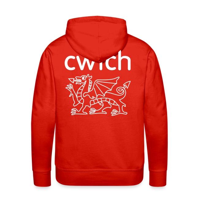 Mens hoody big back cwtch dragon white