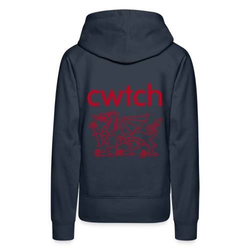 Womens hoodie cwtch red dragon back - Women's Premium Hoodie