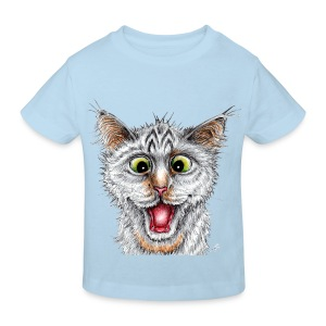 Lustige Katze - T-shirt - Happy Cat - Kinder Bio-T-Shirt