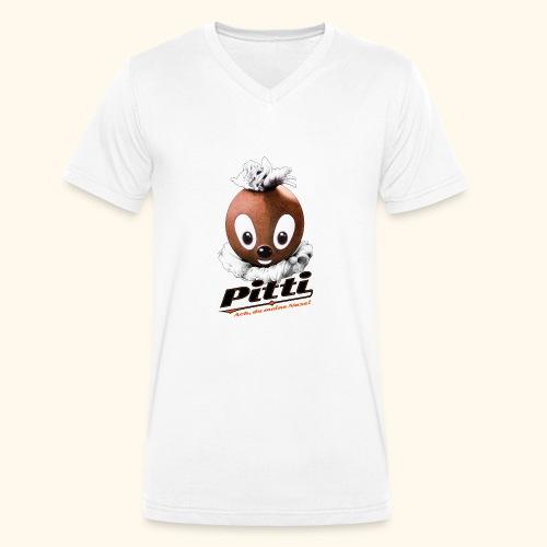 Männer Bio-T-Shirt  V- Ausschnitt Pittiplatsch  Ach, du meine Nase - Männer Bio-T-Shirt mit V-Ausschnitt von Stanley & Stella