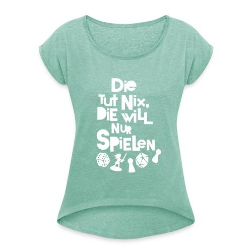 Die tut nix - T-Shirt Minz - Frauen T-Shirt mit gerollten Ärmeln