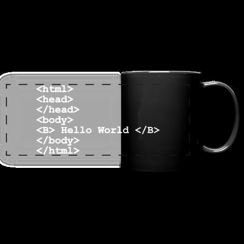 Tasse mit Aufdruck Hello World - Panoramatasse farbig