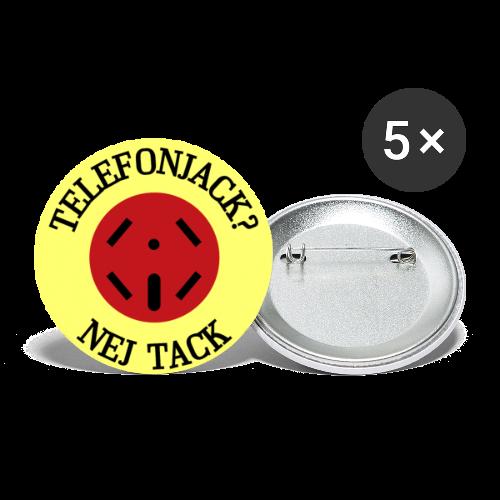 Pins, Telefonjack - Nej tack - Stora knappar 56 mm (5-pack)