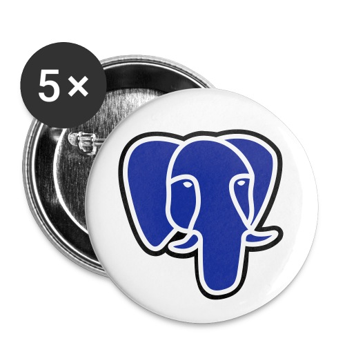 PostgreSQL blue elephant badge - Buttons medium 32 mm