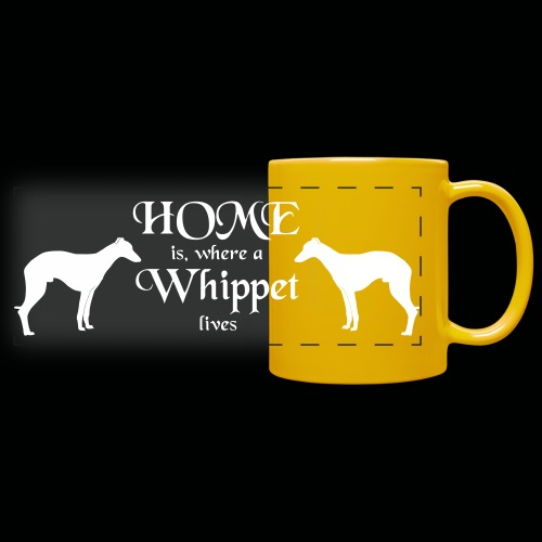 Home is ... Whippet - Panoramatasse farbig