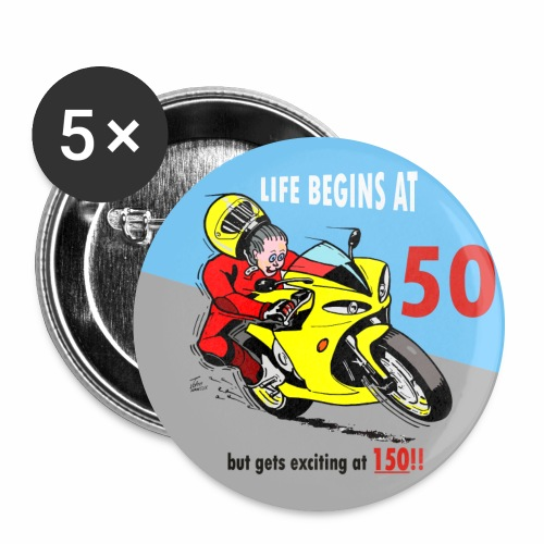 Badge - Life begins at 50 - Buttons large 2.2''/56 mm(5-pack)
