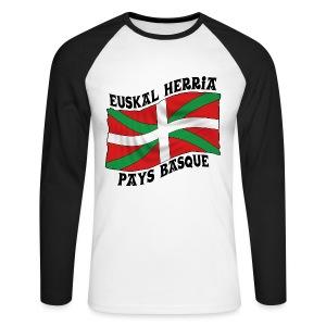 Ikurriña - drapeau Basque - T-shirt baseball manches longues Homme