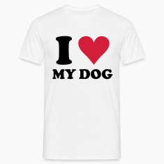Vit I love my dog - hund, hundar T-shirts