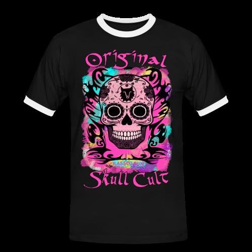 ORIGINAL SKULL CULT PINK - Männer Kontrast-T-Shirt