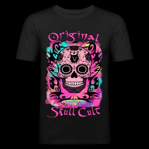 ORIGINAL SKULL CULT PINK - Männer Slim Fit T-Shirt