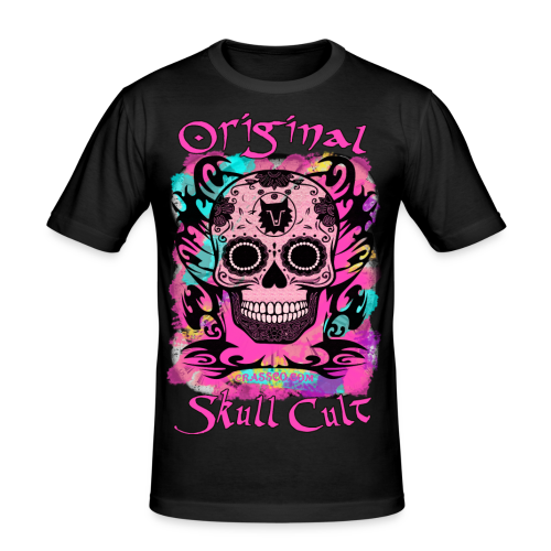 ORIGINAL SKULL CULT PINK - Männer Slim Fit T-Shirt