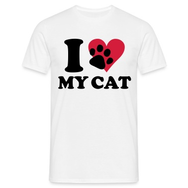 White I love my cat, cats Men's T-Shirts