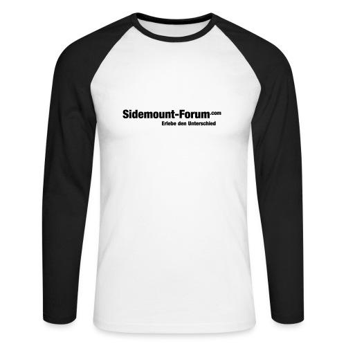 Männer Langarmshirt mit schwarzem Schriftzug und Stempel-Logo - Männer Baseballshirt langarm