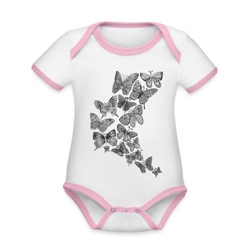 Body bébé papillons - Body Bébé bio contrasté manches courtes