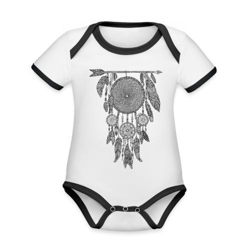 Body bébé Attrape-rêve dreamcatcher - Body Bébé bio contrasté manches courtes