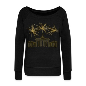 Berlin fireworks New Year's Eve at the Brandenburg Gate - Women's Boat Neck Long Sleeve Top