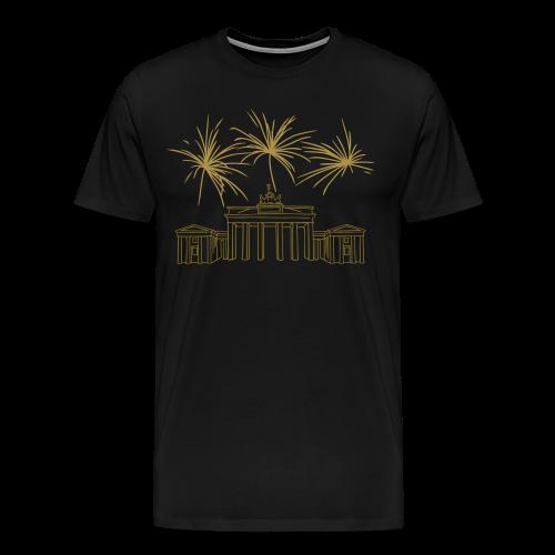 BERLIN Goldregen Feuerwerk Silvester am Brandenburger Tor. - Männer Premium T-Shirt