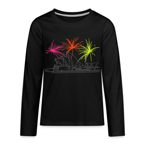 Feuerwerk Silvester in Sydney - Teenager Premium Langarmshirt