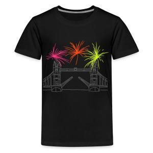 Feuerwerk Silvester in London - Teenager Premium T-Shirt