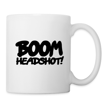 White boom headshot! 1c UK Mugs