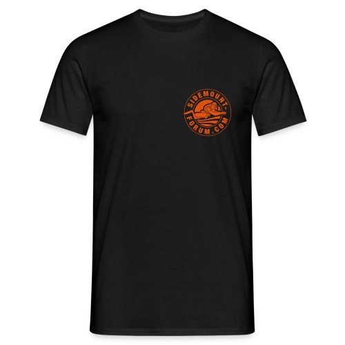 Männer T-Shirt mit orangem Stempel-Logo - Männer T-Shirt