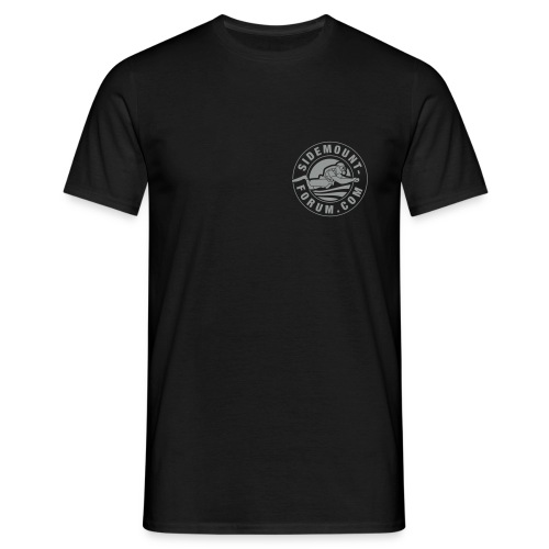 Männer T-Shirt mit grauem Stempel-Logo - Männer T-Shirt
