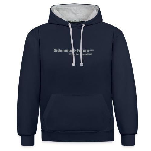 Männer Hoodie mit grauem Schriftzug und Stempel-Logo - Kontrast-Hoodie