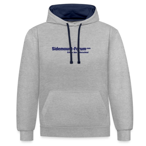 Männer Hoodie mit Schriftzug und Stempel-Logo in navy - Kontrast-Hoodie