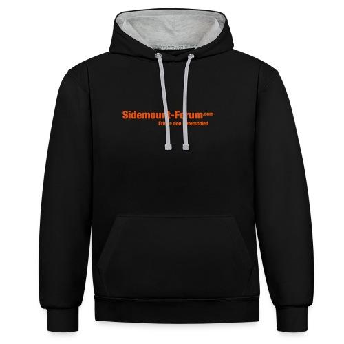 Männer Hoodie mit orangem Schriftzug und Stempel-Logo - Kontrast-Hoodie