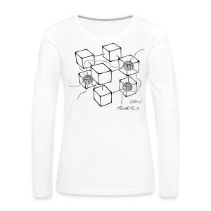 CM-1 Logo women's long white black/grey - Women's Premium Longsleeve Shirt