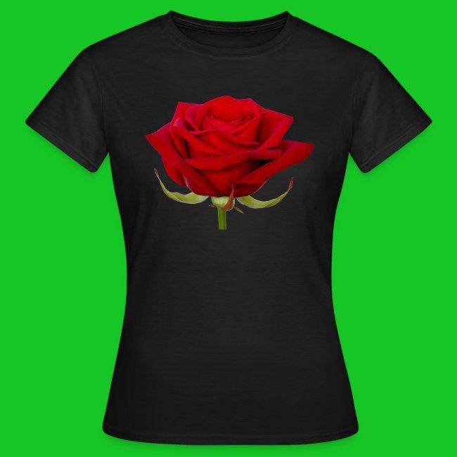 Rode roos 3 dames t-shirt