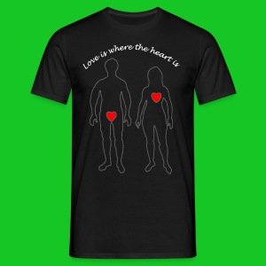 Love is where the heart is mannen t-shirt - Mannen T-shirt