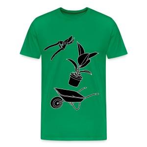 Gartenarbeit mit Heckenschere, Schubkarre und Pflanze - Männer Premium T-Shirt