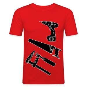 Holzarbeit mit Säge, Klemmzwinge und Akkuschrauber - Männer Slim Fit T-Shirt