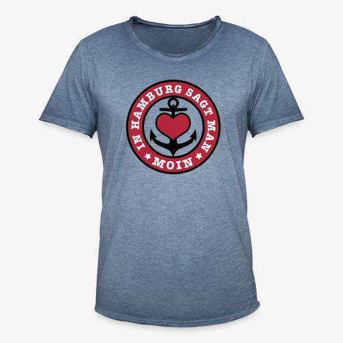 In HAMBURG sagt man MOIN Anker T-Shirt Männer schwarz blau - Männer Vintage T-Shirt