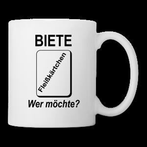 Biete Fleißkärtchen Arbeit Büro Spruch Tassen & Zubehör - Tasse