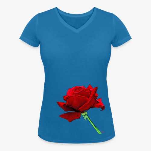 Rose rouge - Women's Organic V-Neck T-Shirt by Stanley & Stella