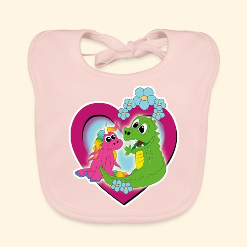 unicorn and dragon - best friends - Baby Bio-Lätzchen